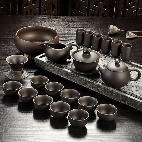 Yixing Purple Sand Tea Set Black/Red Ceramic Kung Fu Teapot Handmade Teacup Gaiwan Tureen Tea Ceremony (Not Include Stone Table)
