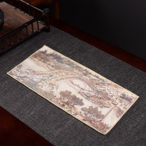 High-end tea towels tea cloth tablecloth absorbent tea table mats raise pot towels tea mat thickening Zen painted tea cloth35*17