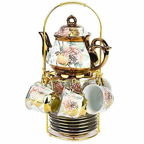 European Luxury Teapot Set 13 Piece Set Ceramic Coffee Cups And Saucers Set Teatime Coffee Mug Teacup Coffeeware For Gifts