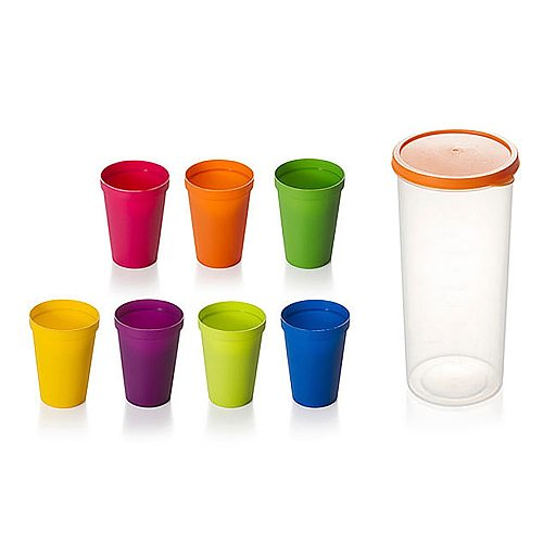 2020 Creative Rainbow Color Plastic Cups Picnic Tourism Teacup Coffee Water Cup Household Portable Camping Tea Cup 7pcs/Set