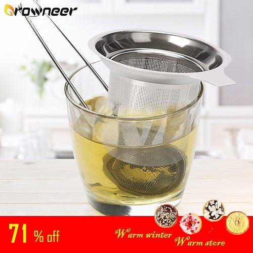 Tea Infuser Stainless Steel Tea Strainer Mesh Teapot Loose Tea Leaf Spice Filter Drinkware Kitchen Accessories Handle Clip