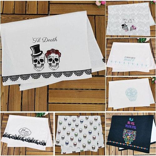 1pc Skull Crossbones Printed Cotton Kitchen Dish Towel Tea Towels Napkin 42x65cm 16.5 x25.6