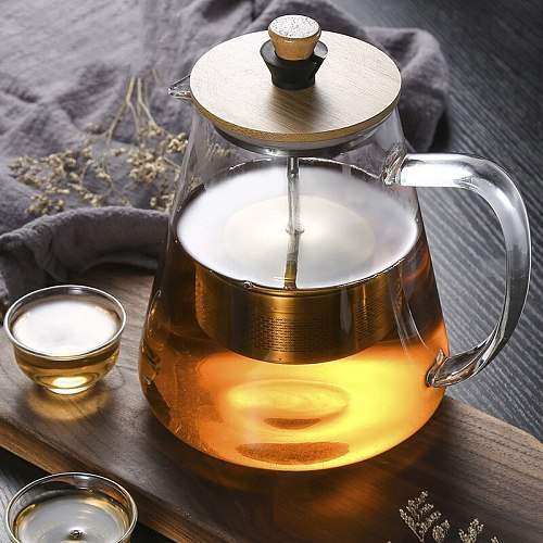 Stainless Steel Infuser Teapot Clear Borosilica Glass Filter flower Tea Pot Heat Resistant Heated Container Boiling Kettle Tool