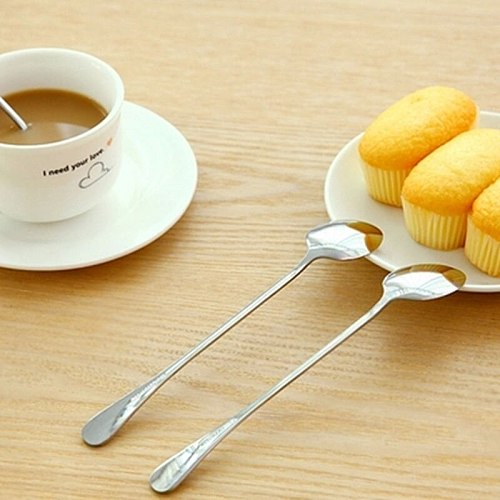 Hot Sale 2 Pc/set Long Handled Stainless Steel Coffee Spoon Ice Cream Dessert Tea Spoon For Picnic Kitchen Tableware Accessories