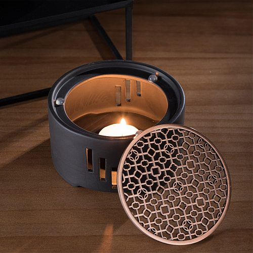 1PC Ceramic Candle Stand Tea Heater Tea Stove Milk Warmer Candle Holder with Mat without Candle for Home Cafe