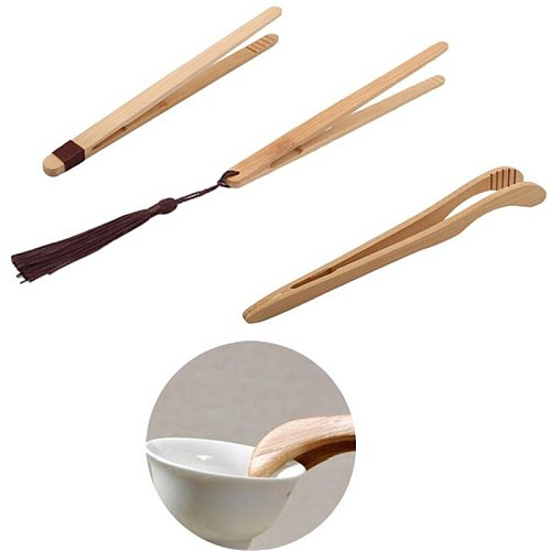 1pc 18cm Tea Utensil Sugar Bamboo Salad Tongs Kongfu Tea Wooden Tea Clip Food Toast Tea Tweezer