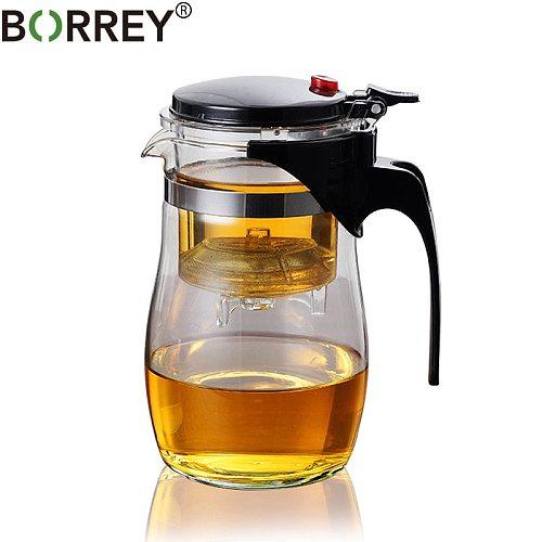 BORREY Borosilicate Glass Teapot Heat Resistant Glass Teapot With Tea Infuser Filter Puer Kettle 500Ml Kung Fu Tea Flower Teapot