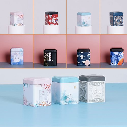 Tea Sealed Box  Kitchen Storage Container Jar Tin Square Can Candy Iron Canister Vintage Tea  Box