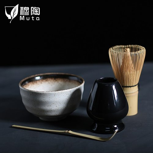 MUTAO 4pcs/set traditional matcha giftset natural bamboo matcha whisk scoop ceremic Matcha   Bowl Whisk Holder japanese tea sets