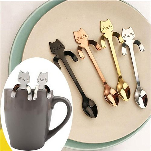Small Mini 304 Stainless Steel Cat Kitty Coffee Stirring Spoon Colorful Dessert Ice Cream Tea Spoon Drink Cafe Scoop