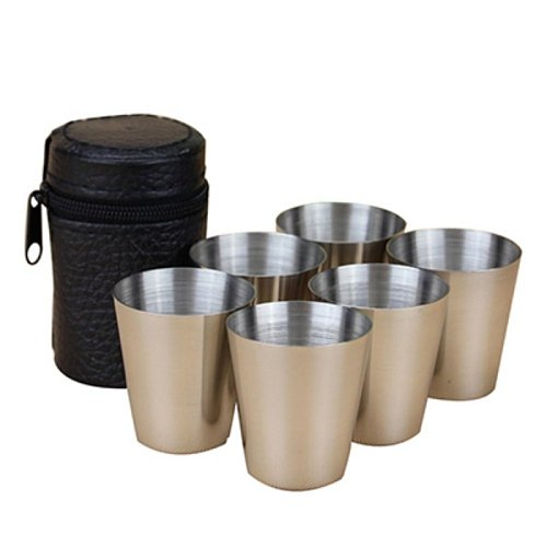 6Pcs Set 30ml Outdoor Practical Stainless Steel Cups Shots Set Mini Glasses For Whisky Wine Portable Drinkware Set