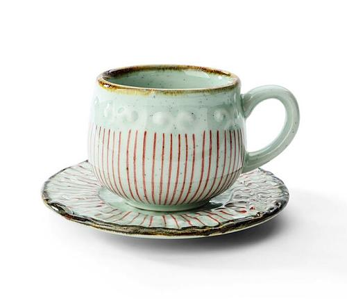 Creative Ceramic Teacup Japanese Arabian Milk Cups Retro Coarse Pottery Coffee Cup with Mat Tray Restaurant Drinking Mug