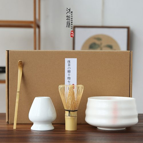 1--4pcs/set traditional matcha giftset bamboo matcha whisk scoop ceremic Matcha Bowl Whisk Holder japanese tea sets