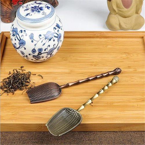 Mini Tea Spoons Vintage High Quality Sugar Salt Spoon  Retro Copper Tea Scoop Chinese Kongfu Tea Accessories Tableware