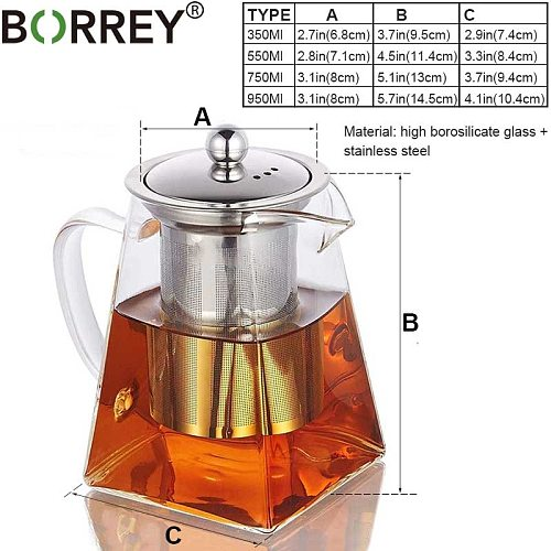 BORREY Square Heat Resistant Glass Teapot With Stainless Steel Infuser Filter Puer Tea Kettle Clear Glass Tea Pot Cup Tea Sets