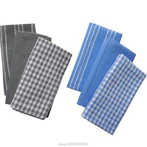 Cotton Dish Cloth Plaid pano de prato Eco-Friendly Kitchen Towel Bulk Tea Towel Lots Scouring Pad 3PC/Set N17 20 Dropship