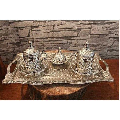 Handmade authentic design turkish greek arabic coffee Espresso set 2 service, cups lid tray arbitrary candy dish gift