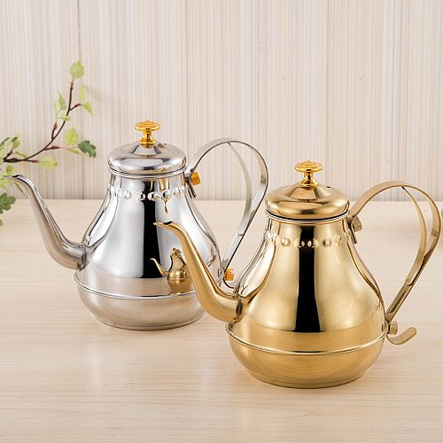 1.2L/1.8L Coffee Maker Stainless Steel Long Mouth Pot Coffee Kettle Teapot With Infuser Filter Milk Oolong Flower Tea Pot