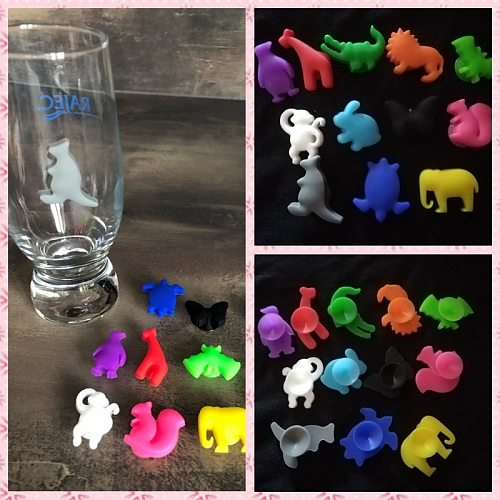 12PCS/ Set Party Dedicated Animal Suction Cup Wine Glass Silicone Label Silicone Wine Glasses Recognizer Marker Tea Holder