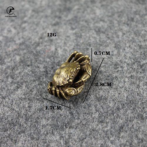 Antique Bronze Mini Crab Statue Tea Pet Ornament Pure Brass Solid Animal Miniature Figurine Vintage Home Decoration Accessories