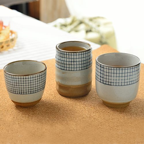 Ceramic soup cup coarse pottery hand painted lattice pattern teacup originality Coffee cup wine cups