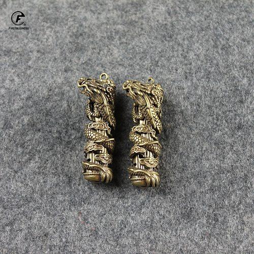 Fashion Copper Dragon Pillar Crafts Figurines Car Key Chain Pendant Retro Brass Chinese Feng Shui Ornament Home Decor Acccessory