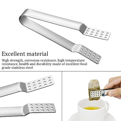 1PC Stainless Steel Tea Bag Clip Anti-Hot Clamp Tong Squeezer Tea Accessories Small Food Clips Tea Set Food Clip Tool Dropship