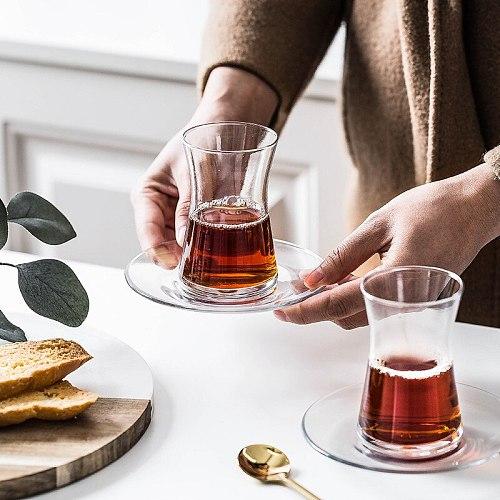 PASABAHCE Nordic Small Fresh Style Turkey Black Tea Cup And Saucer Sets Espresso Coffee Mug Shot Glass Teacup Tazas Para Cafe
