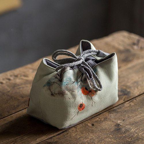 Vintage Persimmon Tea Cup Cloth Storage Bag Portable Printing Travel Kung Fu Tea Cozies Hand Bags Tea Ceremony Accessories LA453
