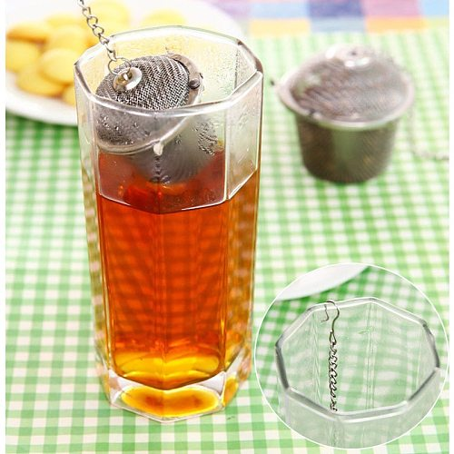Arshen 3 Sizes Spice Seasoning Bag Tea Strainer Chained Lid Stainless Steel Mesh Ball Tea Coffee Filter Basket Infuser Tools
