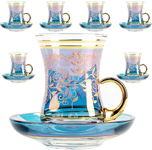 Vintage Turkish Tea Glasses Cups and Saucers Set of 6 with Handle Gold Decors for Serving and Drinking Housewarming Gift for Hom