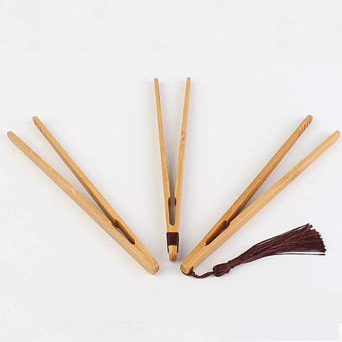 1pcs Wooden Tea Tweezer Tea Tongs Bacon Tea Clip Tongs Bamboo Salad Food Toast bend clip straight clips Kitchen  Teaware