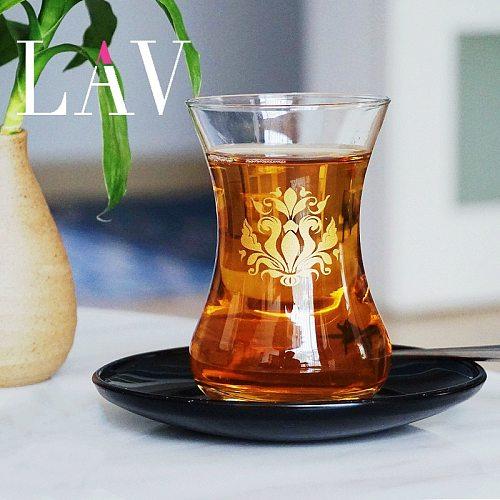 LAV Turkey Courtly Style Black Tea Cup And Saucer Kits Slim Waist Gold Leaf Pattern Espresso Coffee Mug Shot Glass Teacup Sets