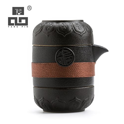 TANGPIN black crockery ceramic teapots with 2 cups a tea sets portable travel tea set drinkware