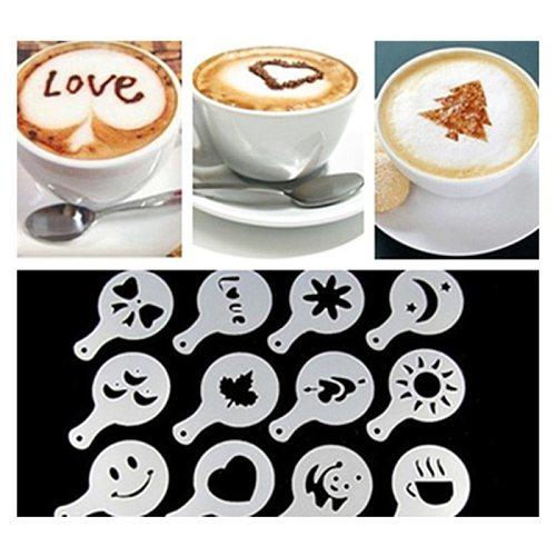 16pcs Coffee Barista Art Stencil Cappuccino Printing Assembly Mold Fancy Coffee Milk Cake Mold Spray Decor Coffeeware Tools