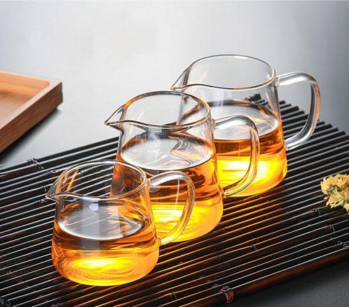 Heat-resisting clear glass tea pot fair cup cha hai,handmade  kung fu tea cups teaset gongdao Points of tea ware with handle