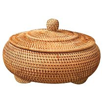 Storage Basket Hand-Woven Rattan Woven with Cover Round Primary Color Chinese Jewelry Snacks Tea Set Storage Box 22x13cm