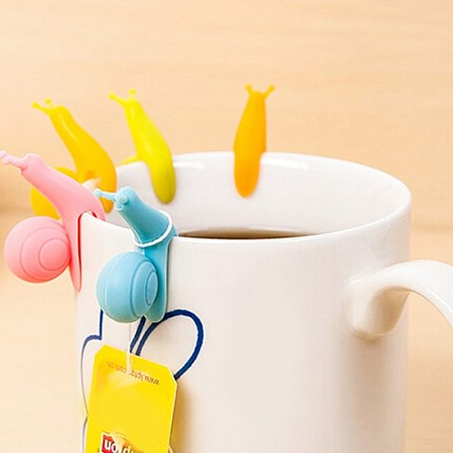 5pcs/lot Cute Snail Shape Silicone Tea Bag Holder Cup Mug Candy Colors Gift Set 301-0428