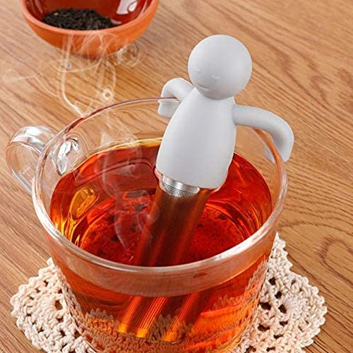 Cute Silicone Tea Infusers Little Man Shaped Tea Strainer Tea Bags Tea Cup Decoration Tea Lovers Kitchen Tools Kitchen Accessory
