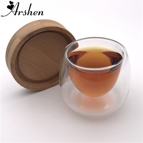 Arshen 1 Set 80ml Double Wall Insulated Cup with Bamboo Coasters Handmade Heat Resistant Tea Drink Healthy Coffee Cups