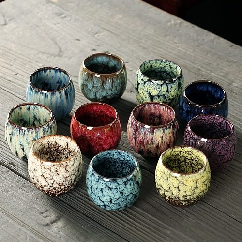 1pcs/2pcs/4pcs Kiln Change China Ceramic Tea Cup Porcelain Kung Fu Cups set Pottery Drinkware Tableware Wholesale Egg Style