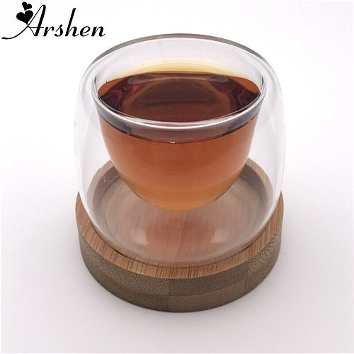 Arshen 1 Set 80ml Double Wall Glassware Insulated Cup with Bamboo Coasters Handmade Heat Resistant Tea Drink Healthy Coffee Cups