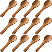 50 Pieces Small Wooden Spoons Mini Nature Spoons Wood Honey Teaspoon Cooking Condiments Spoons for Kitchen (Light Brown)