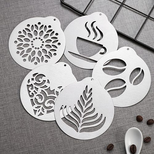 5pcs Stainless Steel Coffee Stencil Set Coffee Barista Tools Cappuccino Arts Templates Coffee Garland Mould Cake Decorating Tool