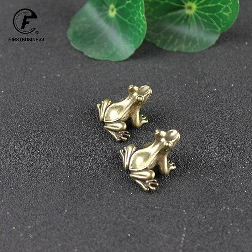 Brass Small Frog Miniatures Figurines Vintage Handmade Copper Animal Ornaments Home Decor Christmas Decoration Kawaii Gifts