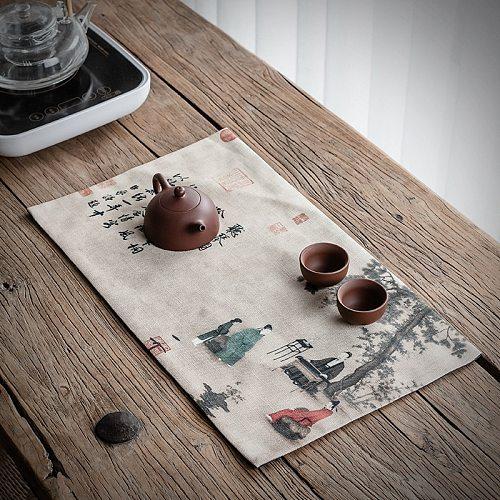 Chinese Style Cotton Linen Fabric Tea Table Tea Mat Printing Zen Waterproof Table Runner Dry Pour Tea Towel Mat  Tea Napkin