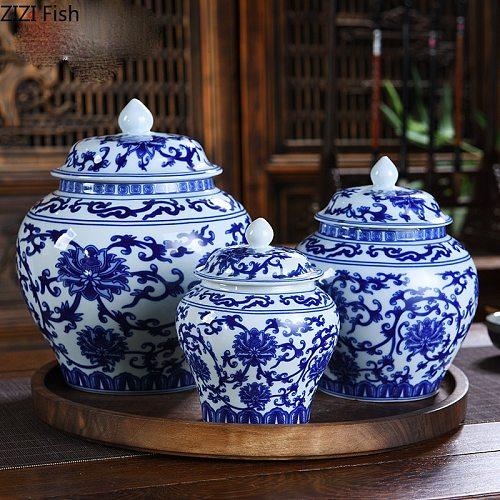 Simple Blue and White Porcelain General Tank Ceramic Storage Tank with Lid Ceramic Tea Pot Large Sealed Storage Tea Storage Jar