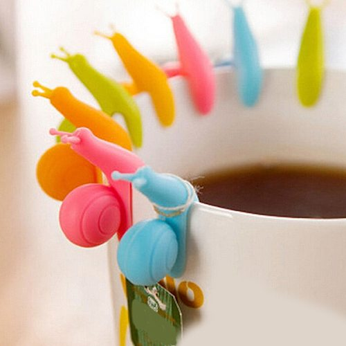 5pcs/lot Cute Snail Shape Silicone Tea Bag Holder Cup Mug Candy Colors Gift Set 301-0428