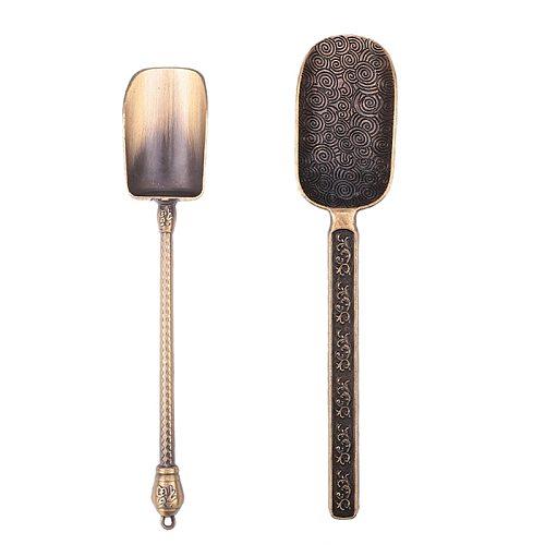 Bronze Chinese Tea Spoons Copper Tea Scoop Spoon Tea Leaves Chooser Holder Chinese Kongfu Tea Tools Accessories