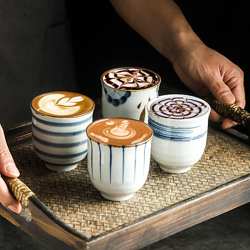 RHE 200ml Tea cup Ceramic coffee cup Mugs Beer Whiskey Glass Drinkware cup Latte Specialized coffee shop Utensils